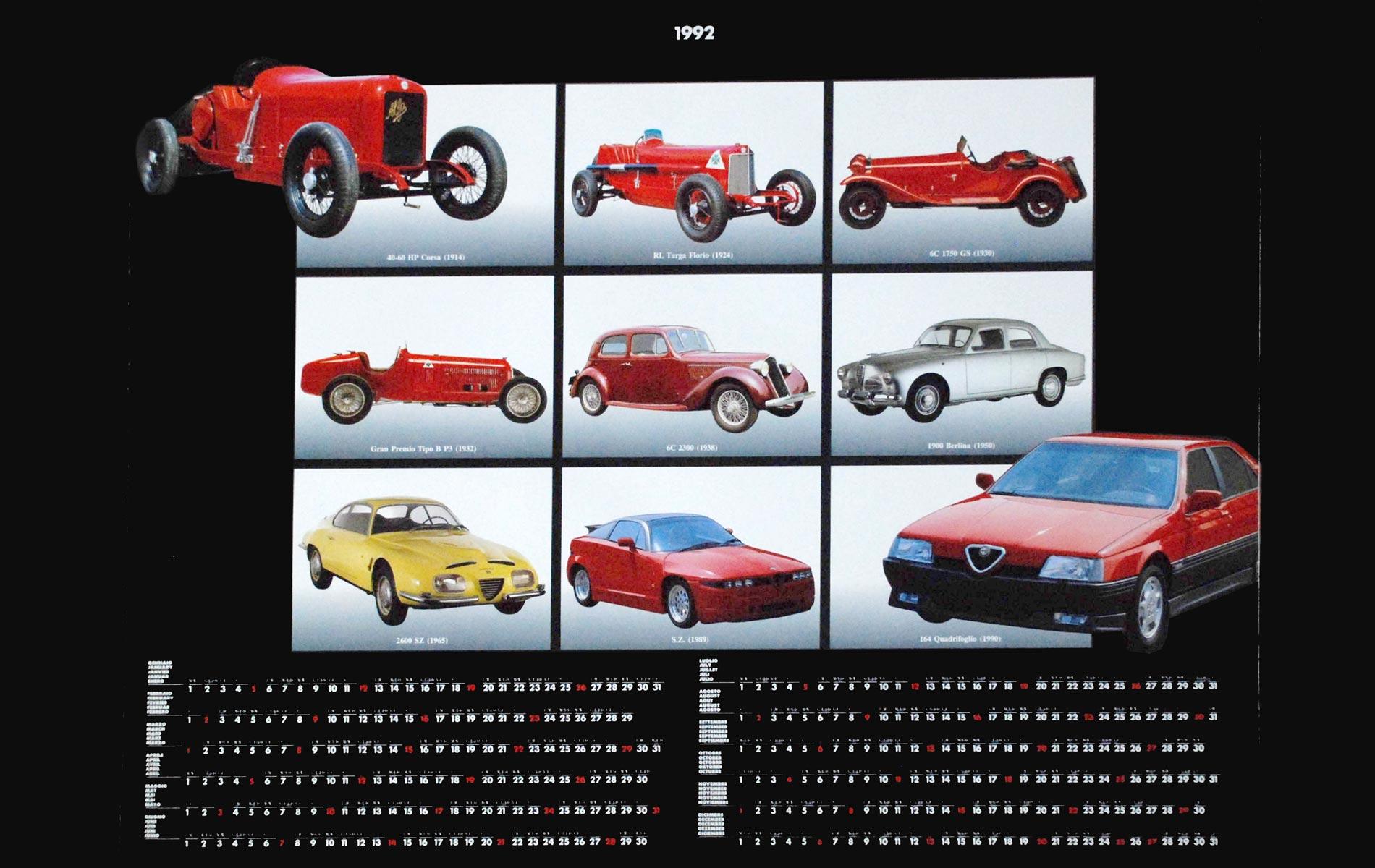 ALFA ROMEO - 1991 CALENDAR - The cars selected for the photos c