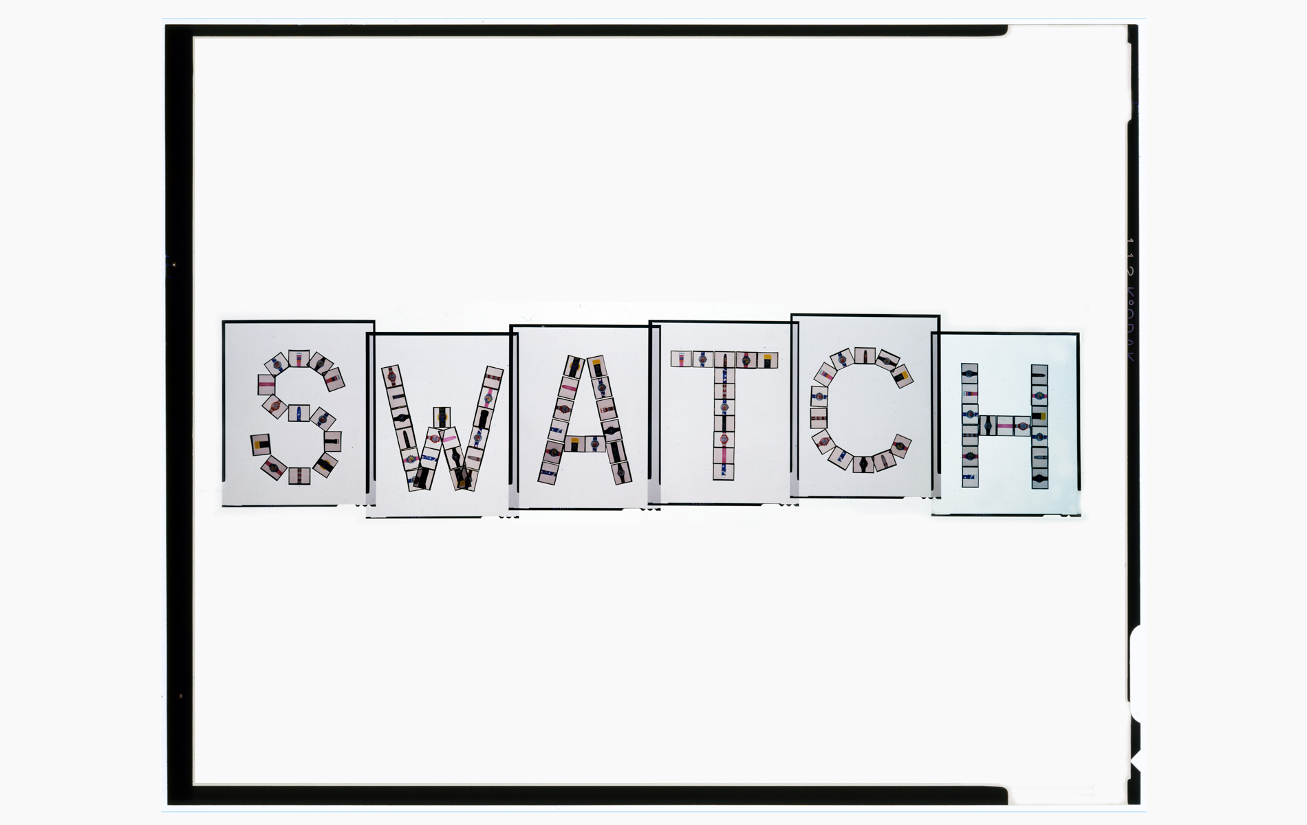 """SWATCH PUZZLE Collection - the name Swatch built with the slides 4 """"x5"""" and re-photographed in slide 8""""x10"""" - © Graziano Villa"""