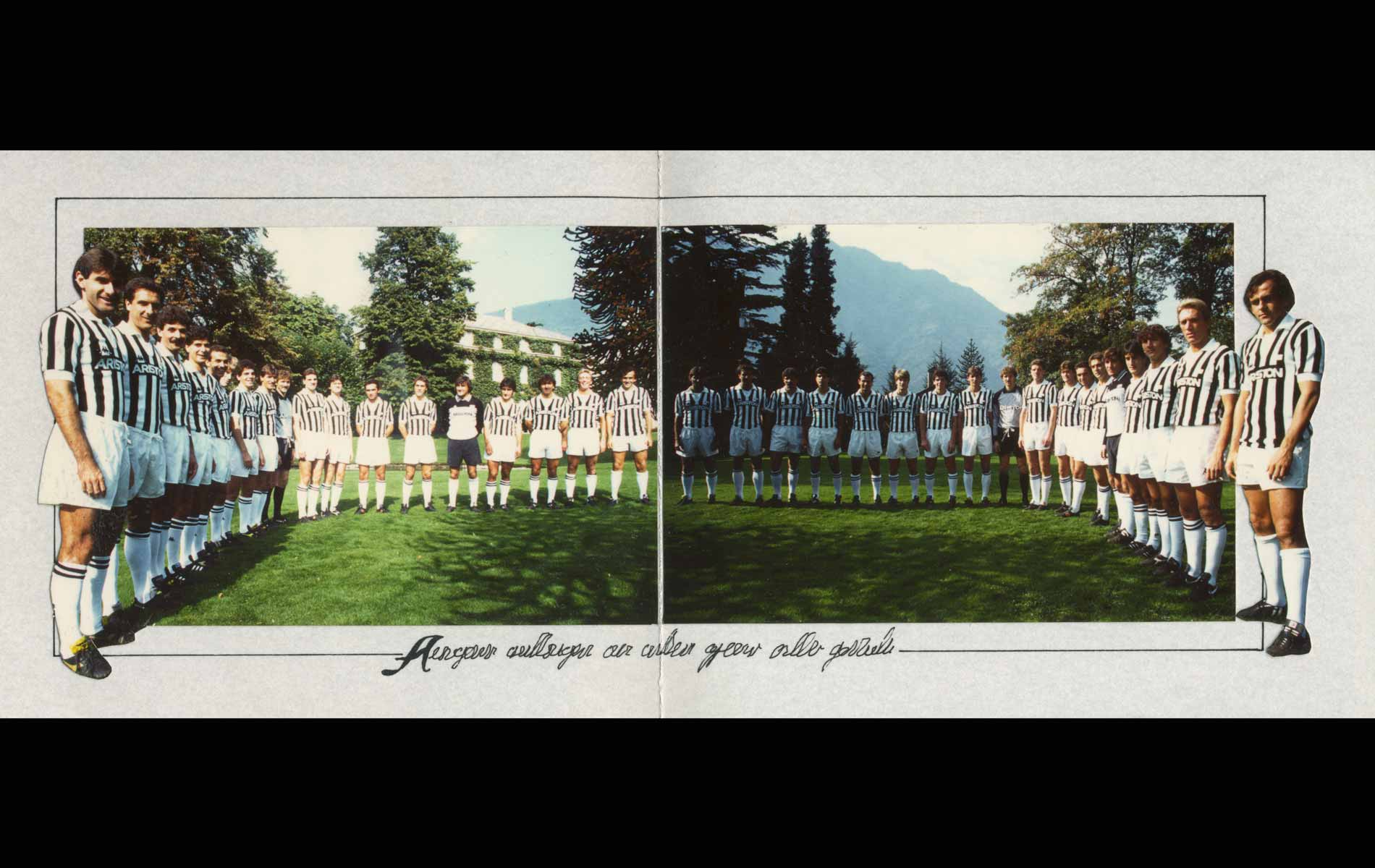 FIAT JUVENTUS - GREETINGS CARDS 1986 x Avv.Giovanni AGNELLI with JUVENTUS Football Team - © Graziano Villa
